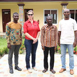 Mr. Justice Agyenim Boateng with Dr. Okankey (right) and the team from Palm Institute